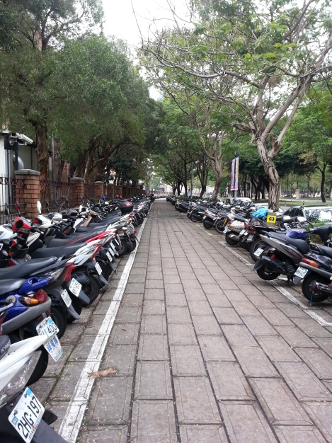 motorcycles as far as the eye can see/taida walls, taipei/dec 12, 2012