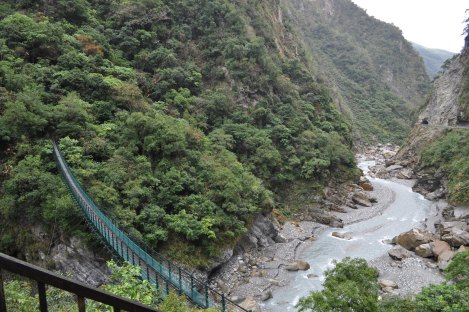 "suspension bridge to ""most exciting trail,"" which you need a permit for + we did not walk/taroko, taiwan/jan 2013"