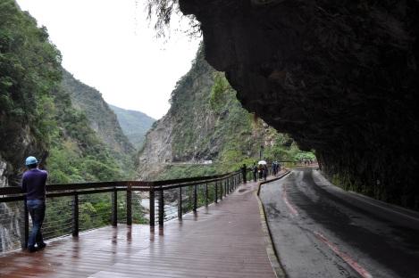 walkway was carved into the mountian/taroko, taiwan/jan 2013