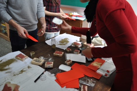 gold embossed envelope making station/iclp, taipei/feb 7, 2013