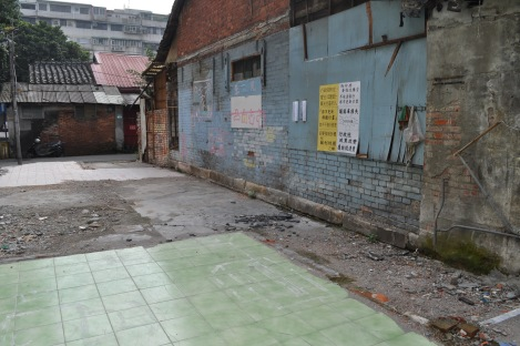 one family painted the floor + remaining walls of their home to show where their things once were/huaguang community, taipei/feb 3, 2013