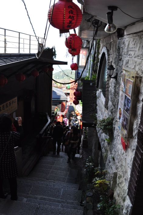 classic jiufen alley staircase/jiufen, taiwan/dec 28, 2012