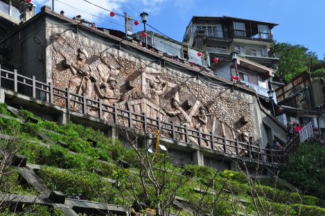 mural depicting jiufen's mining history/jiufen, taiwan/dec 28, 2012
