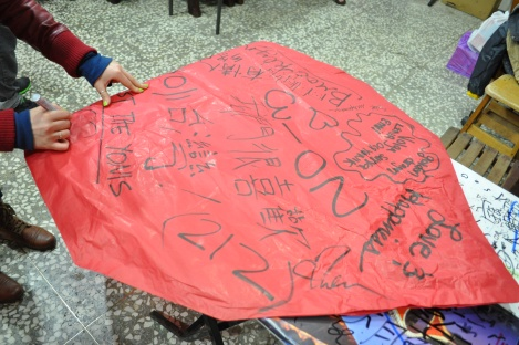 flip side of our lantern/marina, embellishing our lantern/pinxi, taiwan/feb 2013