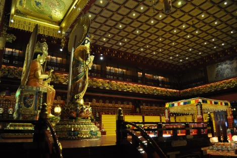 main chanting room at buddha tooth relic temple/singapore/march 2013