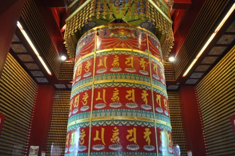 prayer wheel in the room of 10,000 buddhas/buddha tooth relic temple/singapore/march 2013