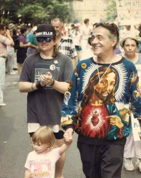 me + harry koutoukas when i was 3ish, my dad behind us, howard moody behind him/pride, nyc/1990?