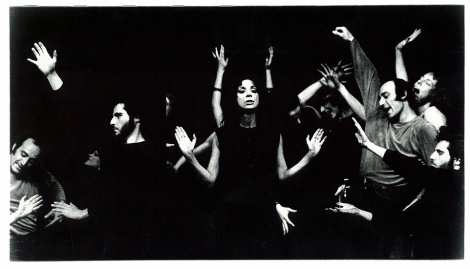 Photo by Carla Cerati, Judith Malina and The Living Theatre performing Antigone in Italy, 1974